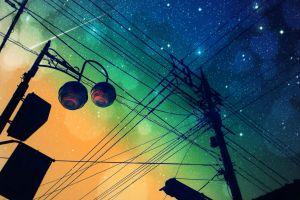 shooting stars anime night sky night power lines
