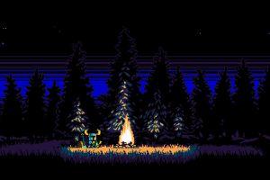 shovel knight pixels nature pixelated video games fire digital art pixel art trees forest knight vintage stars field retro games