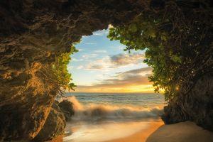 shrubs beach maui cave sunset sand island sea clouds nature landscape