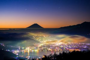 silhouette mount fuji lake mist mountains long exposure evening stars sunset city landscape lights trees nature forest