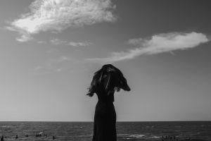 silhouette women outdoors monochrome