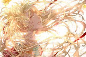 simple background anime girls kimono ribbon green eyes anime flower in hair original characters long hair