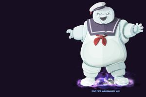simple background ghostbusters movies marshmallow man
