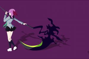 simple background hiiragi shinoa vector art owari no seraph anime girls scythe vector minimalism