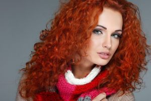 simple background looking at viewer curly hair open mouth makeup face women model sweater long hair redhead portrait