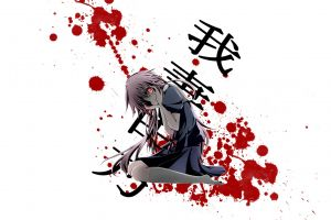simple background mirai nikki gasai yuno yandere anime girls anime