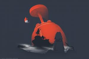 simple background orange flcl anime