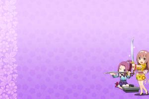 simple background purple background onigirl anime sword anime girls