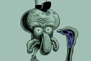 simple background spongebob squarepants squidward tentacles cartoon