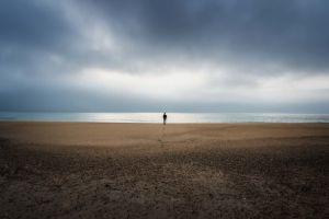 simple clouds minimalism calm alone nature landscape shore overcast sand sea horizon beach coast