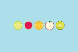 simple digital art blue minimalism fruit