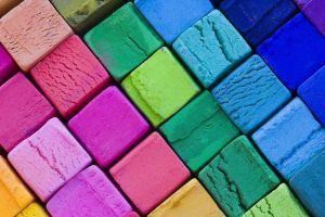simple warm colors digital art cube colorful