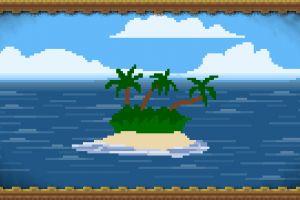 simplicity pixel art nature island clouds picture frames digital art sea palm trees