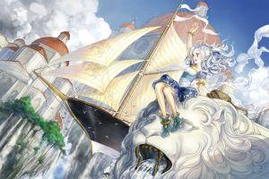 sitting anime girls anime arms up sailing ship fantasy art ship