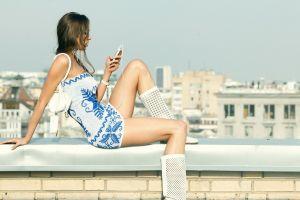 sitting boots women model brunette miniskirt anna moryachka konchakovskaya