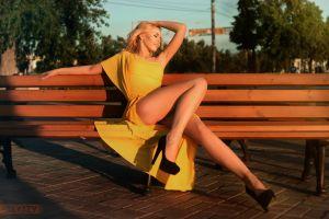 sitting closed eyes blonde dress women high heels black heels hands in hair model