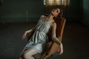 sitting model skinny olya pushkina georgy chernyadyev white dress chair stockings dress brunette women