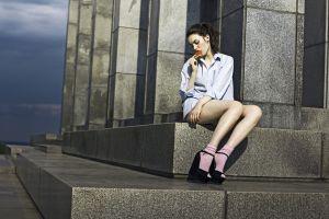 sitting stairs model women outdoors women brunette ponytail watermelons shirt