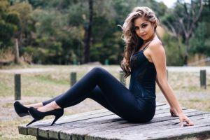sitting women natasha angeleski high heels model black heels wavy hair
