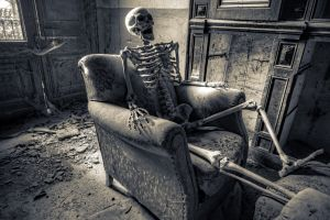 skeleton abandoned dark ruin chair dark humor humor armchairs
