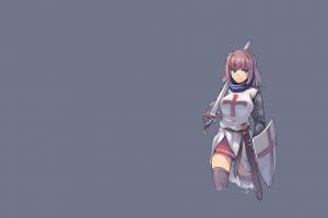 skirt nightmaremk2 armor thigh-highs original characters knight sword shield short hair anime anime girls