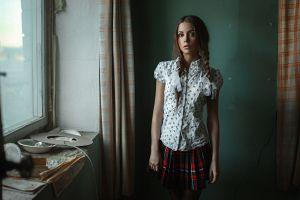 skirt plaid shirt twintails auburn hair schoolgirl braids georgy chernyadyev women ksenia kokoreva