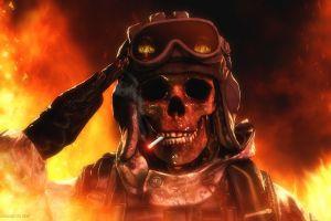 skull cigarettes render cgi fire