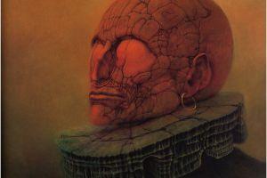 skull fantasy art dark fantasy zdzisław beksiński artwork
