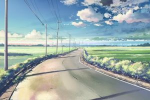 sky anime clouds 5 centimeters per second road