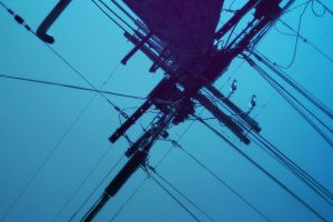 sky blue utility pole