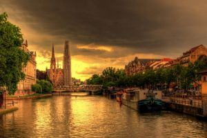 sky bridge city hdr strasbourg ship france nature building landscape sunlight urban trees architecture clouds