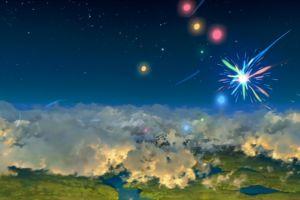 sky clouds digital art fireworks