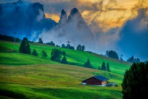 sky dolomites (mountains) grass nature cabin sunset clouds italy landscape trees