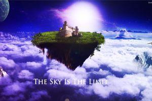 sky fantasy art floating island digital art
