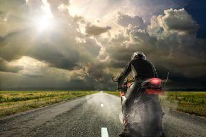 sky field sunset motorcycle clouds landscape road asphalt pilot