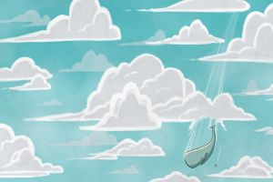 sky flying illustration clouds flowerpot the hitchhiker's guide to the galaxy digital art whale falling nature