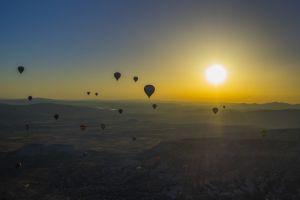 sky hot air balloons sun nature landscape