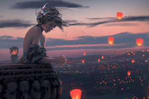 sky lanterns balcony wlop painting fictional wind