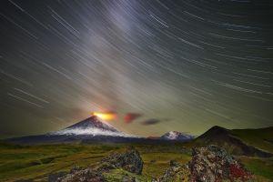 sky mountains long exposure landscape