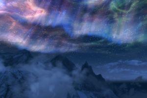 sky mountains video games the elder scrolls v: skyrim aurorae clouds
