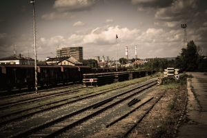 sky pripyat ukraine train station clouds muted abandoned railway train old rail yard