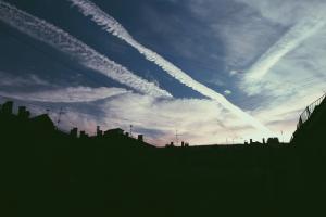 sky rooftops clouds dark
