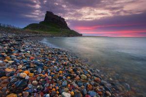 sky sea stones ancient history landscape nature castle beach england clouds sunset