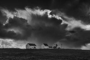 sky storm house clouds monochrome grass dark landscape nature