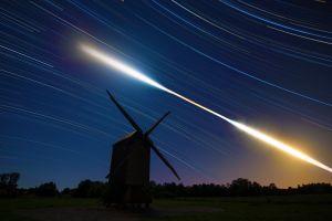 sky windmill digital art night sky