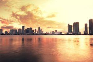 skyline building miami river city urban
