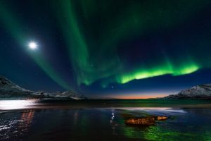 skyscape mountains aurorae nature nordic landscapes