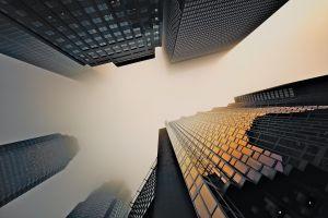 skyscraper city window urban mist
