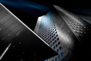skyscraper lights concrete blue architecture steel landscape building urban modern