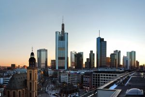 skyscraper rooftops germany cityscape frankfurt city sunset building urban church